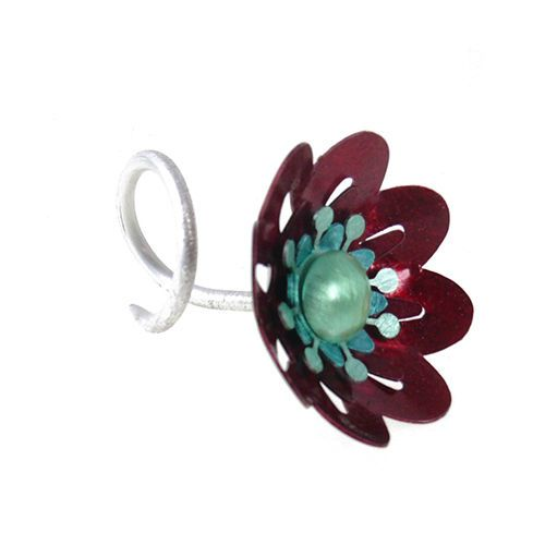 Red Poppy  | Aluminium Ring With Silver - product images  of