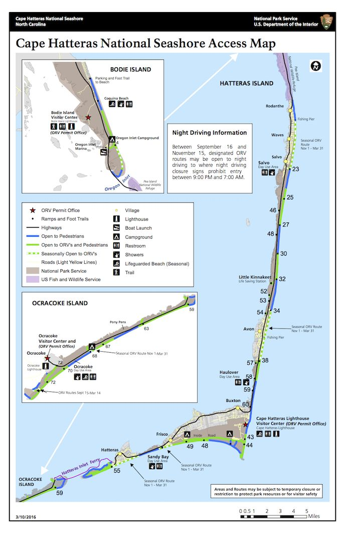 Map Of The Entire Cape Hatteras National Seashore Showing The