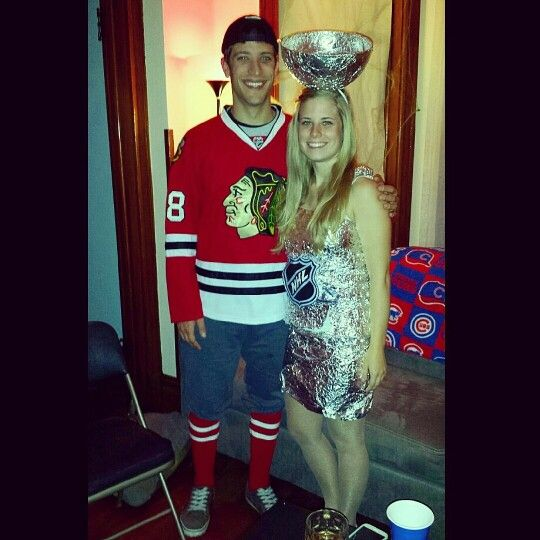 Hockey Player And Stanley Cup Halloween Costume Halloween Stanleycup Costume Hockey Halloweencostume Diy Hockey Halloween Couple Halloween Kids Costumes
