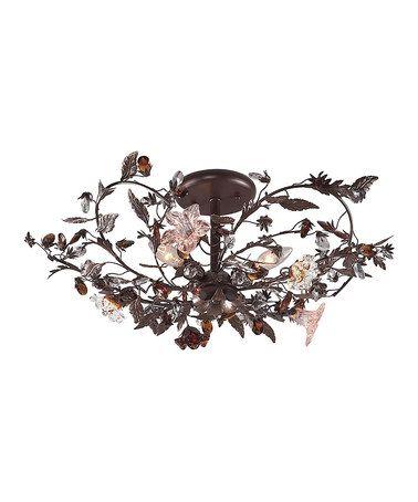 Loving this Deep Rust Three-Light Hand Blown Floret Pendant Lamp on #zulily! #zulilyfinds