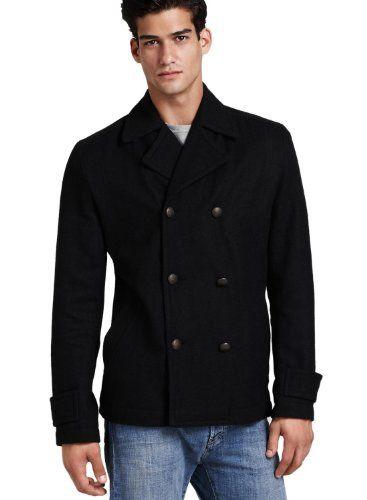55c83e3cd5c8 Converse Mens Black Double Breasted Peacoat Jacket « Impulse Clothes ...