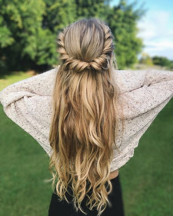 Diy Wedding Hair Half Up: Twists And Curls Half Up Half Down Hairstyle,easy Half Up