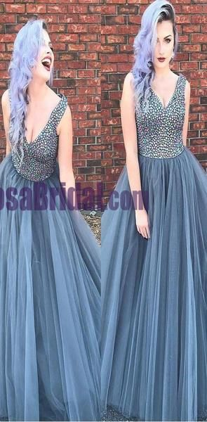 Beaded Top Sparkly Gorgeous Prom Dresses, Long N-Neck Tulle Modest Prom Dress, Cheap Formal Prom Dre #modestprom