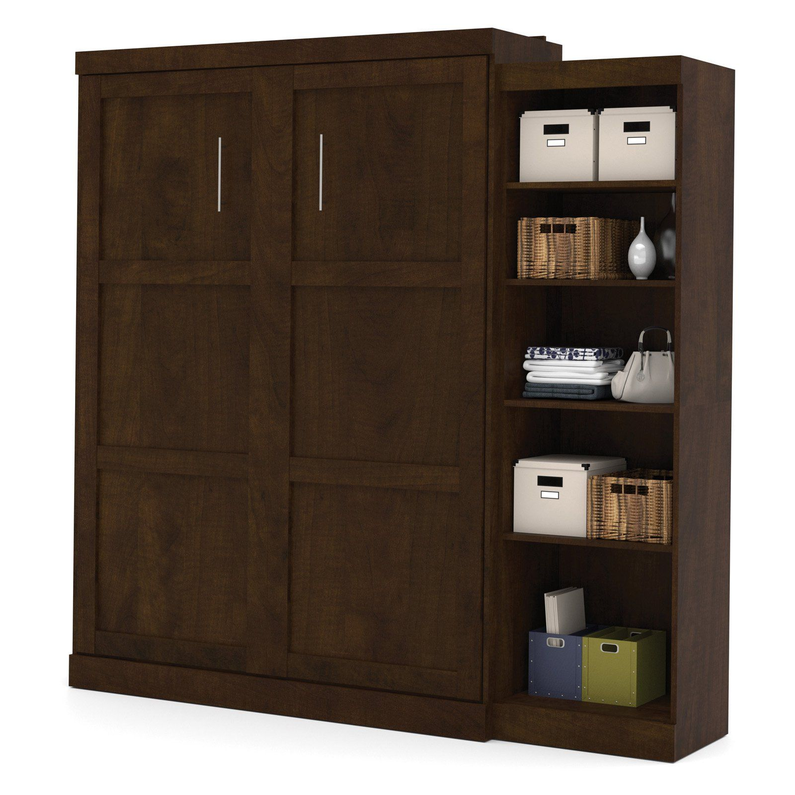 Bestar Pur Murphy Wall Bed With Attached 5-Shelf Storage