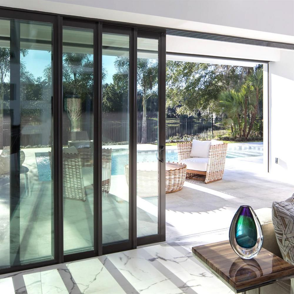 Unbranded 144 In X 84 In Rt Swing Inswing Black Aluminum Finished Multi Slide Double Prehung Patio Door W Aluminum Frame 102 Simnel The Home Depot In 2020 Sliding Patio Doors Glass Doors Patio