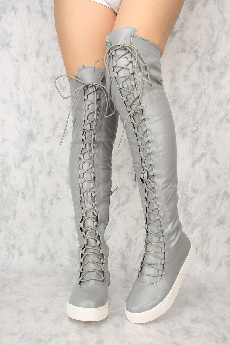 22333bb0ec0 Sexy Grey Lace Up Round Close Toe Flat Thigh High Boots Faux Leather