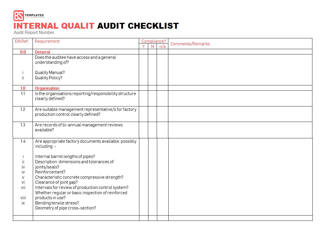 Company Internal Auditing Activity Checklist Sample Audit
