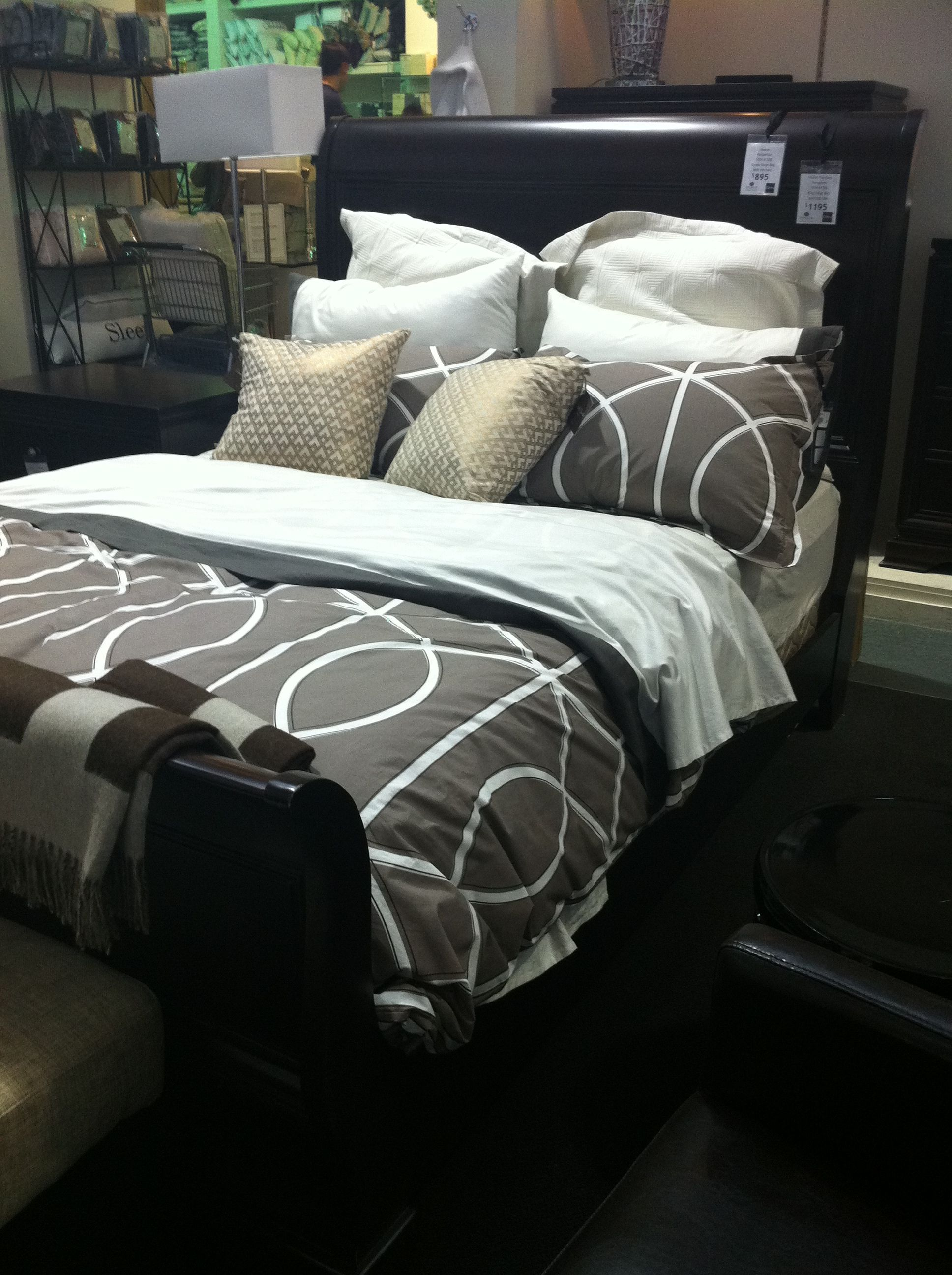 Interior Sleigh Bed Bedding sleigh bed gray grey cream white dark wood bedding guest room room