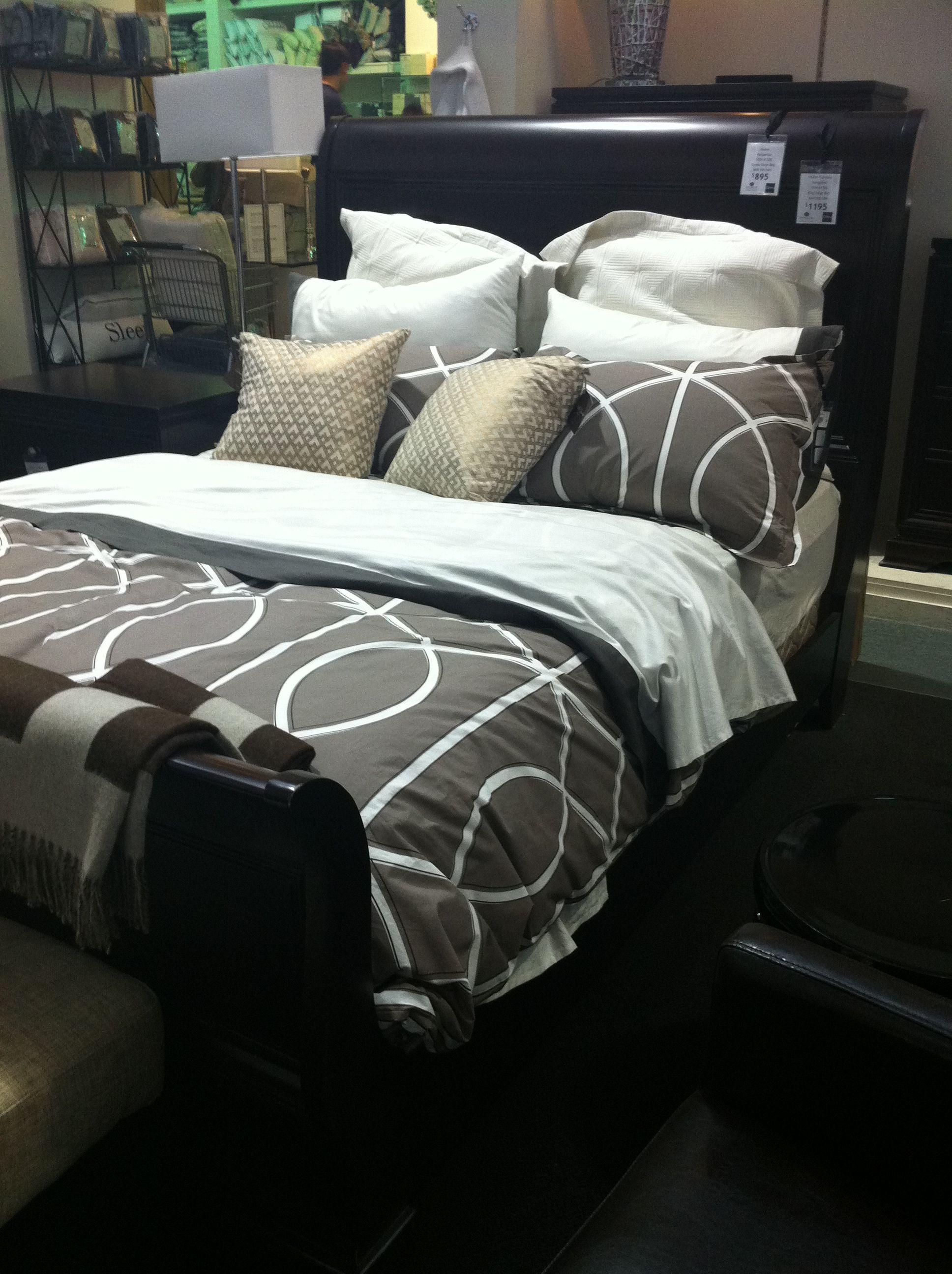 Best Sleigh Bed Gray Grey Cream White Dark Wood Bedding Guest 640 x 480