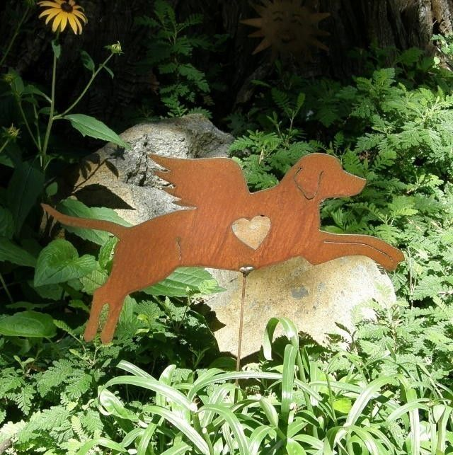 Rusty Finish Metal Garden Art Labrador Retriever Lab Dog Angel Etsy Metal Garden Art Dog Angel Memorial Garden Art