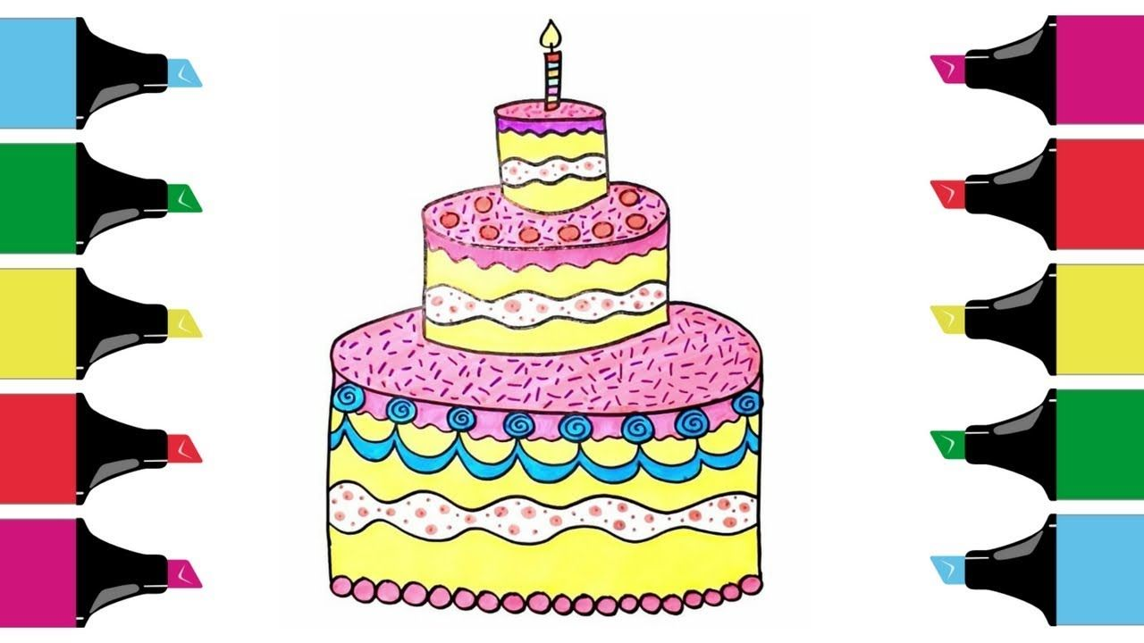 How To Draw Birthday Cake With Candles How To Draw For Kids In
