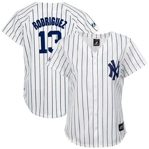 0aabcdb39 Majestic New York Yankees #13 Alex Rodriguez Ladies White Pinstripe Replica Baseball  Jersey