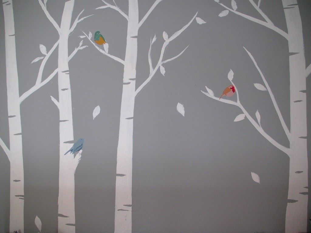 Boy and girl shared yellow and gray room birch aqua and for Diy birch tree mural