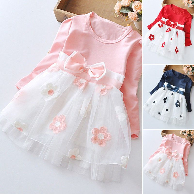 9c673aaa9597 0-12 Month Floral Baby Girls Princess Dress Party Pageant Bow Tulle ...