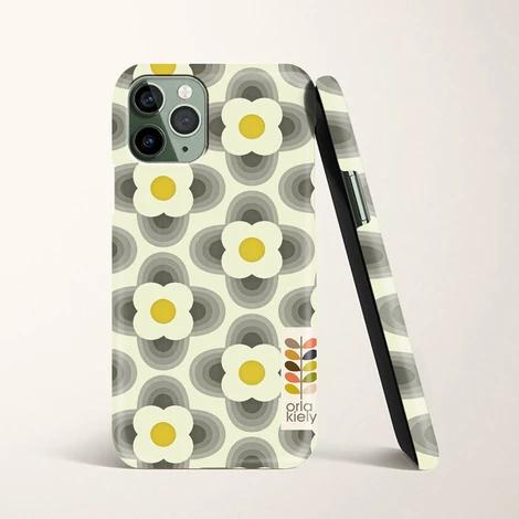 Orla Kiely Striped Petal Yellow Grey Wallpaper iPhone 11
