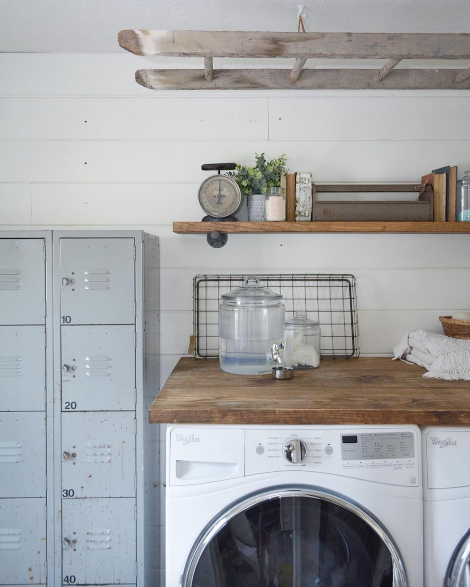 This farmhouse style laundry room is