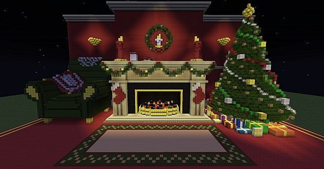 Minecraft Christmas.Christmas Fireplace Scene Christmas Tree Minecraft Project