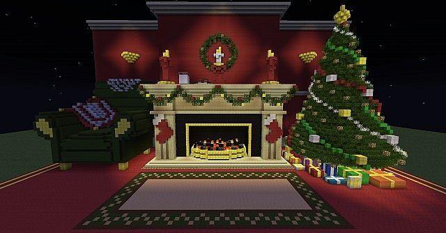 Christmas Fireplace Scene Amp Christmas Tree Minecraft Project Minecraft Decorations Minecraft Christmas Minecraft