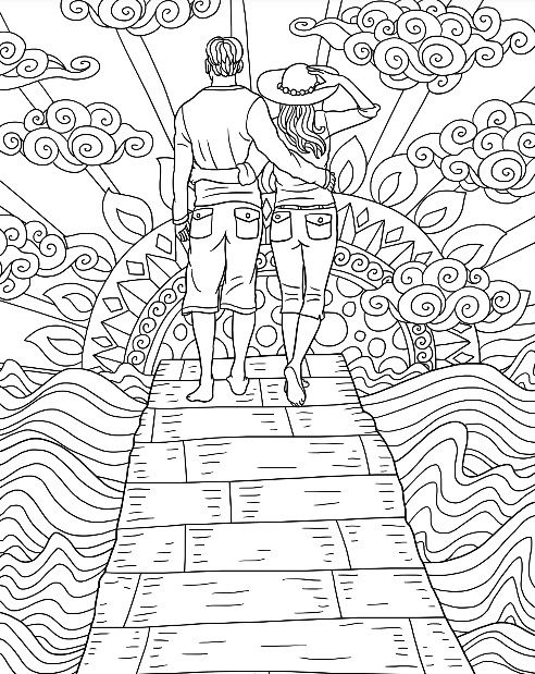Romantic walk coloring page ColorMattersApp adult coloring I