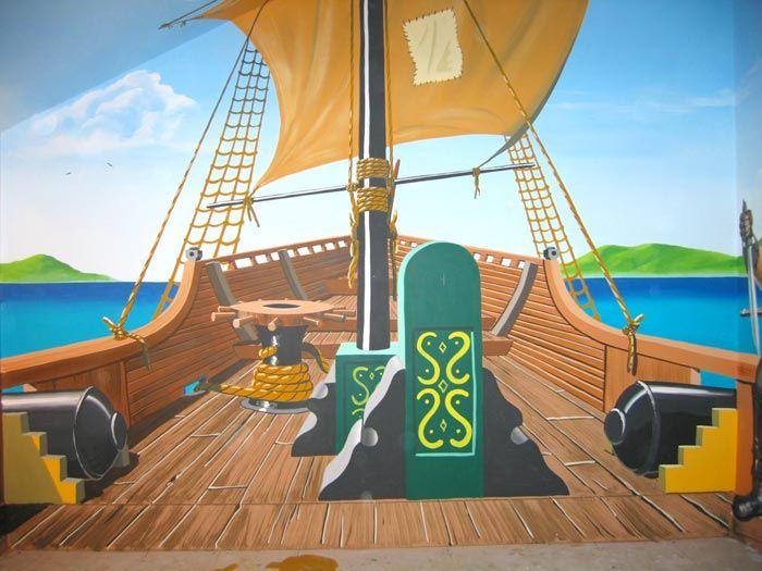 Pirate Mural, Ship Stern, Pirate Murals Part 10