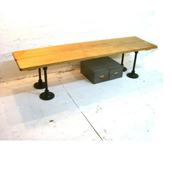 Vintage locker room bench industrial entry bench or banquette wood