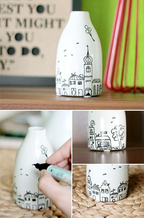Vase mit Städtchen Mit porcelaine Städtchen vase