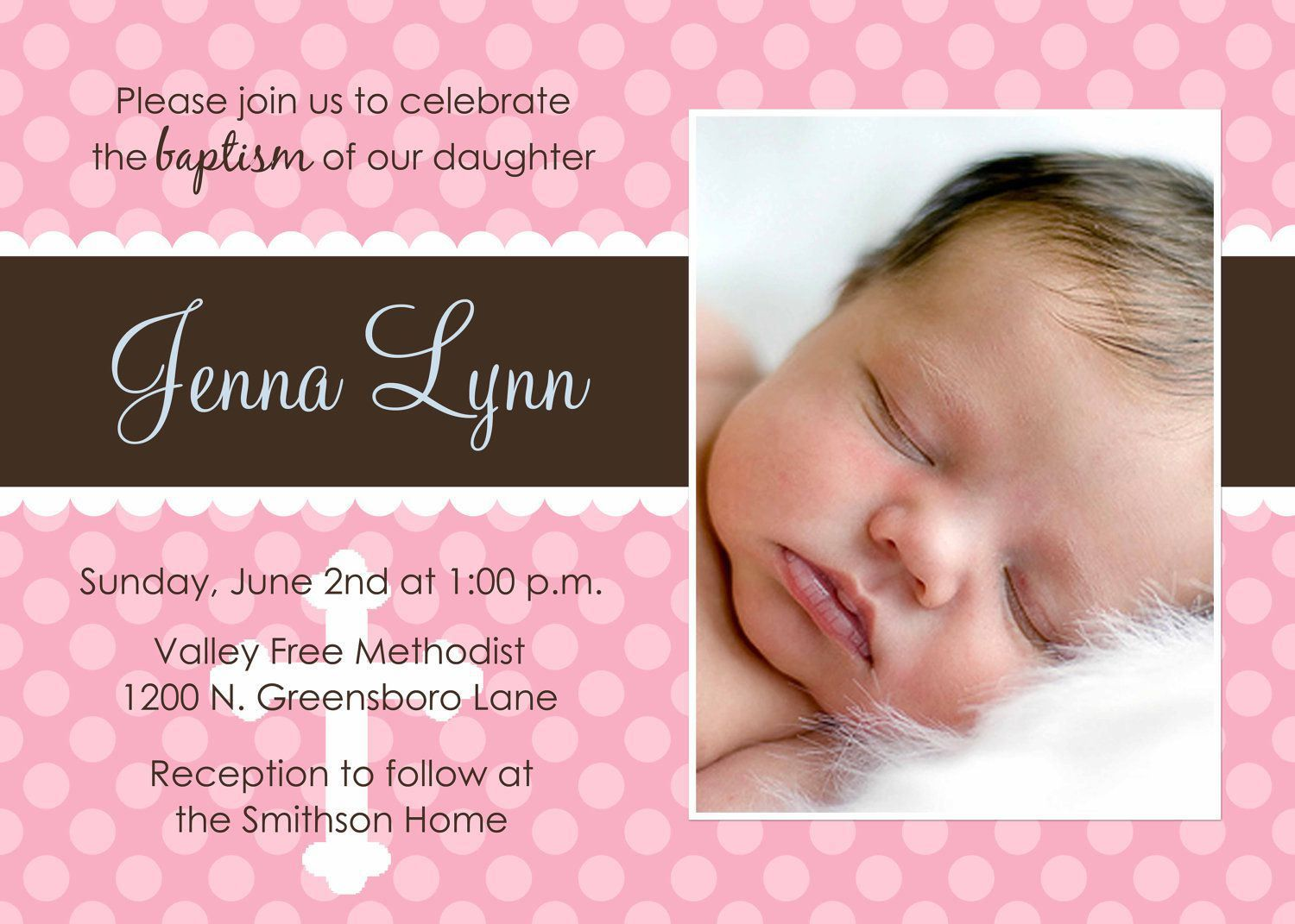 Invitation Card For Christening Blank Background Superb