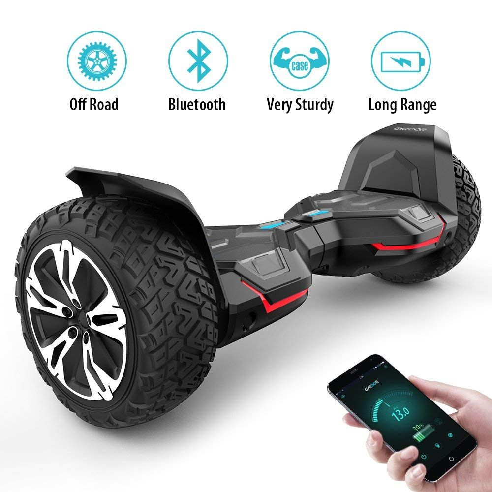 UL2272 Certified Self Balancing Scooter 2018 Black Gyroor Warrior G2 8.5 inch All Terrain Off Road Hoverboard with Bluetooth Speakers and LED Lights