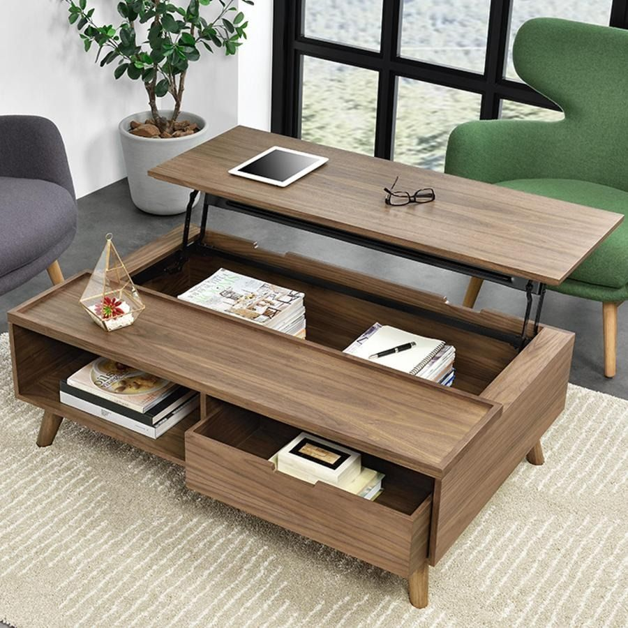 Pascal KD LiftTop Rectangular Coffee Table, Storage and