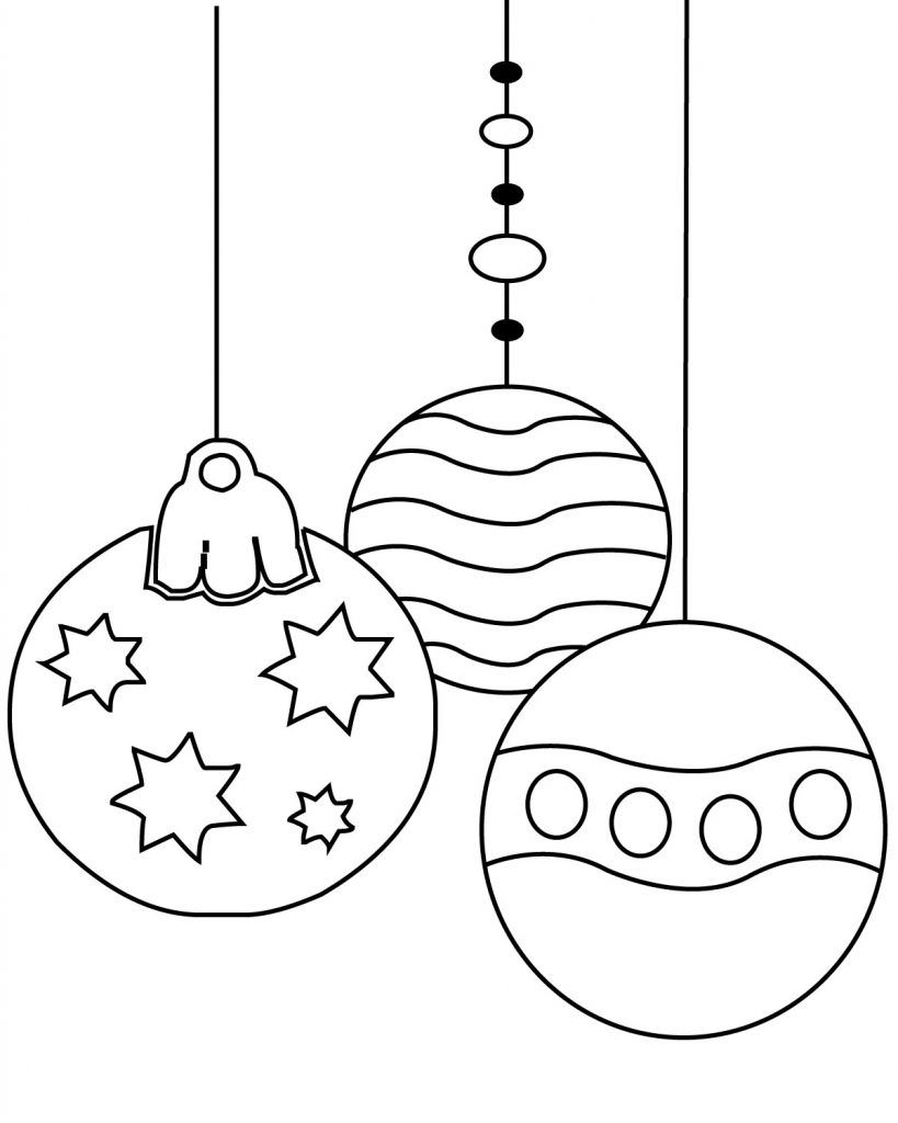 Christmas Ornament Coloring Pages Printable Simple For