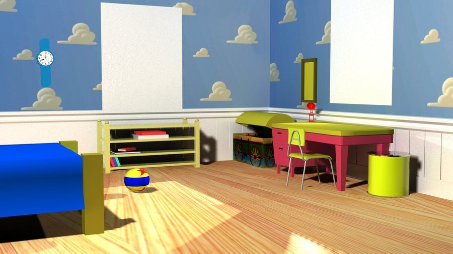 Andy s room  cloud walls with chair railing    inspiration for Toy Story  room. Andy s room  cloud walls with chair railing    inspiration for Toy