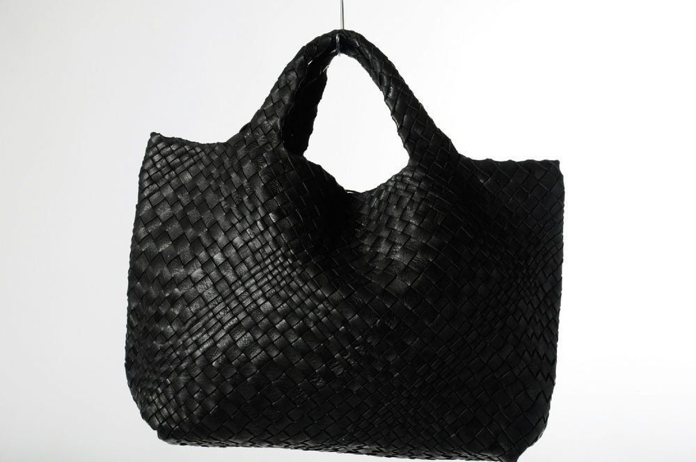 075d653c666 Falorni Italia Le Borse Black Leather Woven Tote Shopper Handbag  #FalorniItaliaLeBorse #TotesShoppers