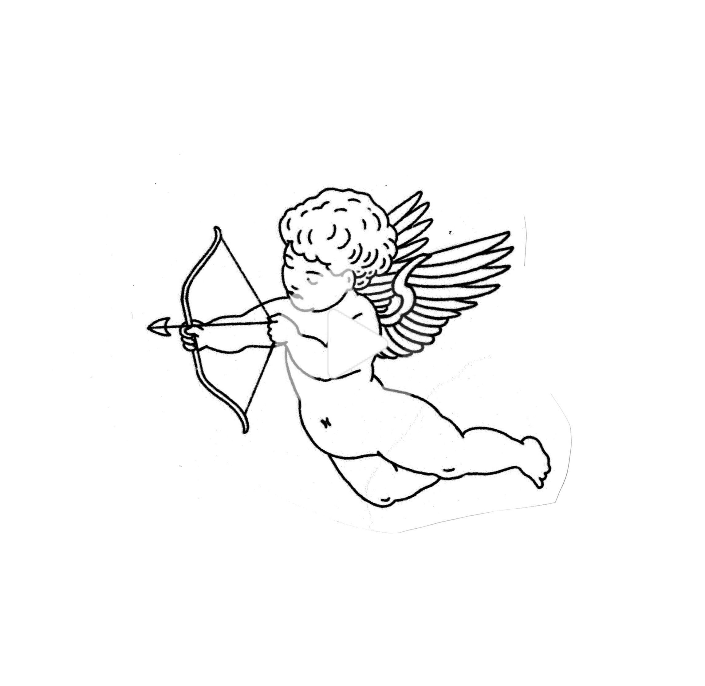 cupid tattoo flash sketch design - - #angeltatto # ...