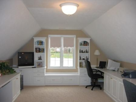 Builts In With Sloped Ceiling Attic Home Office