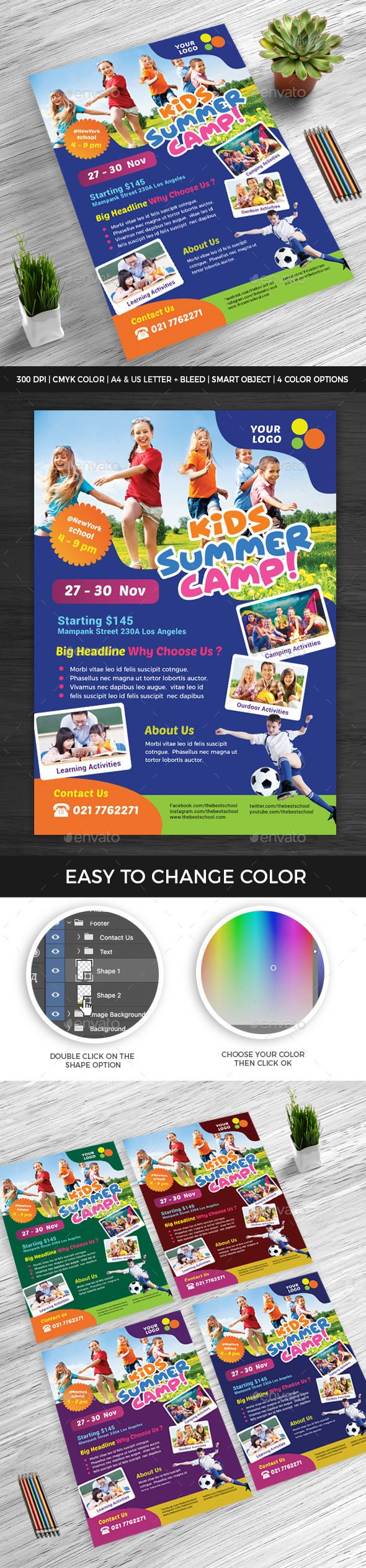 kids summer camp flyer v3 events flyers free flyer templates business flyer
