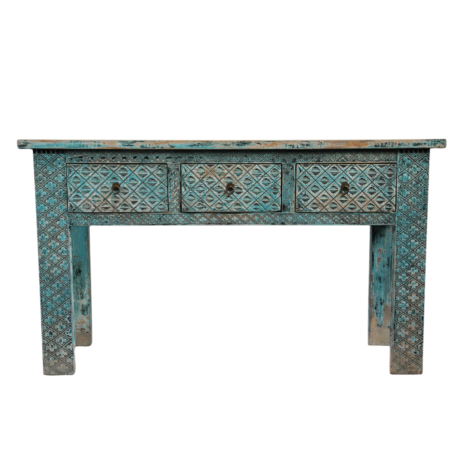 Carved blue elm console table on chairish beach house carved elm wood console table with three drawers finished in a distressed blue and brown patina geotapseo Gallery