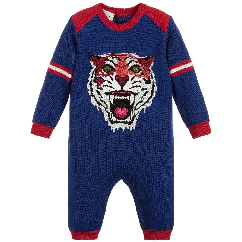 dba9648ba156 Gucci - Boys Blue Wool Tiger Babygrow