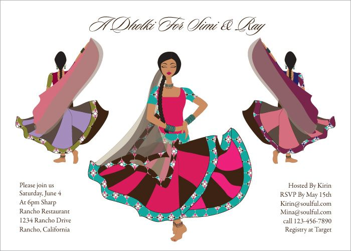 Twirling Divas Indian Bridal Shower Invitations By Soulfulmoon