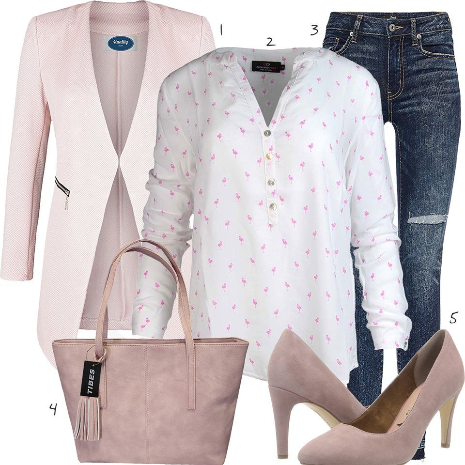 Rosa Weisses Damenoutfit Mit Bluse Blazer Und Pumps Fashion Outfits Tote Bag