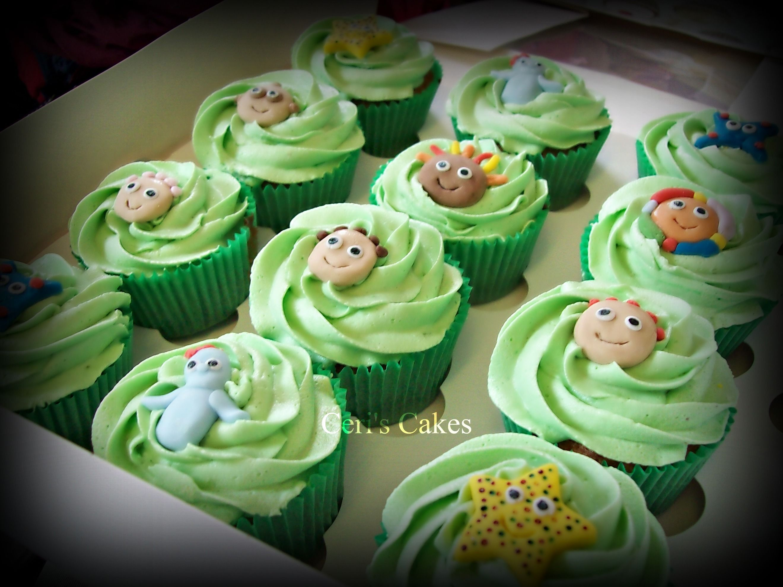 In the night garden cupcakes. I like the light green icing ...