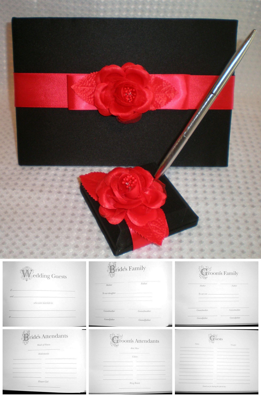 Wedding Party Satin Flower Signing Pen /& Pen Holder Set Wedding Signature