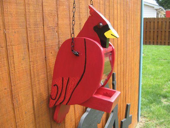 Bird Feeders Cardinal Wood Red Birdhouse by RockingBirdhouse