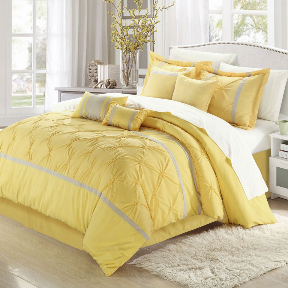 Chic Home Vermont 12 Piece Queen Comforter Set In Yellow And Gray