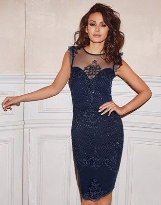 22cf97e80009a9 Lipsy Love Michelle Keegan Sequin Artwork Frill Sleeve Bodycon Dress ...