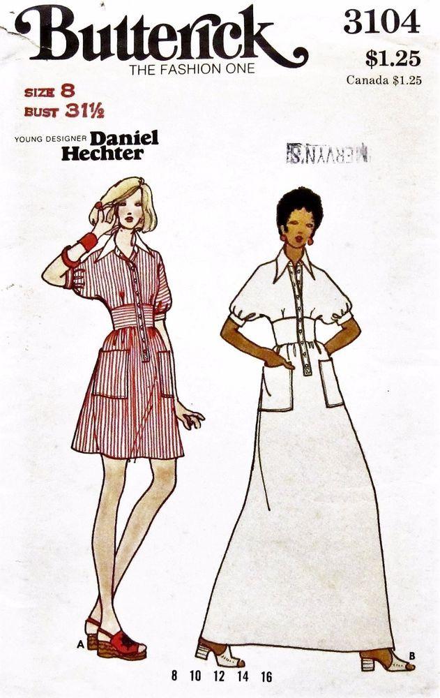 UNCUT Vtg. 70\'s DESIGNER DANIEL HECHTER DRESS+GOWN Butterick Pattern ...