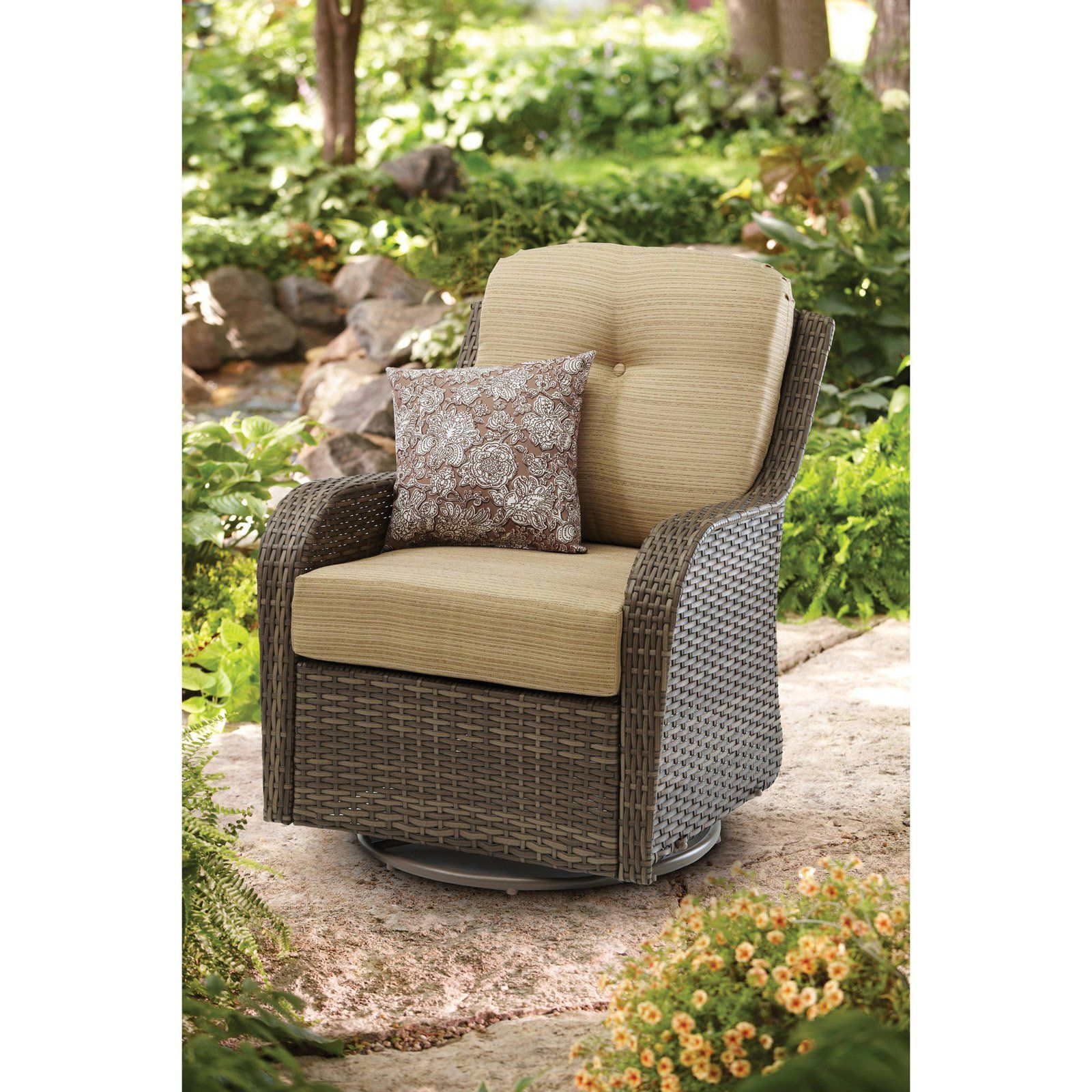 Outdoor better homes gardens mckinley crossing all motion swivel rocking chair