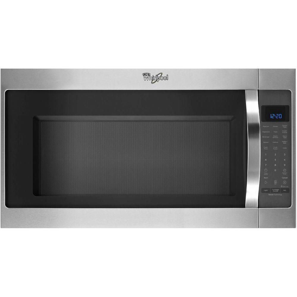 Whirlpool 2 0 Cu Ft Over The Range Microwave In Stainless Steel With Sensor Cooking