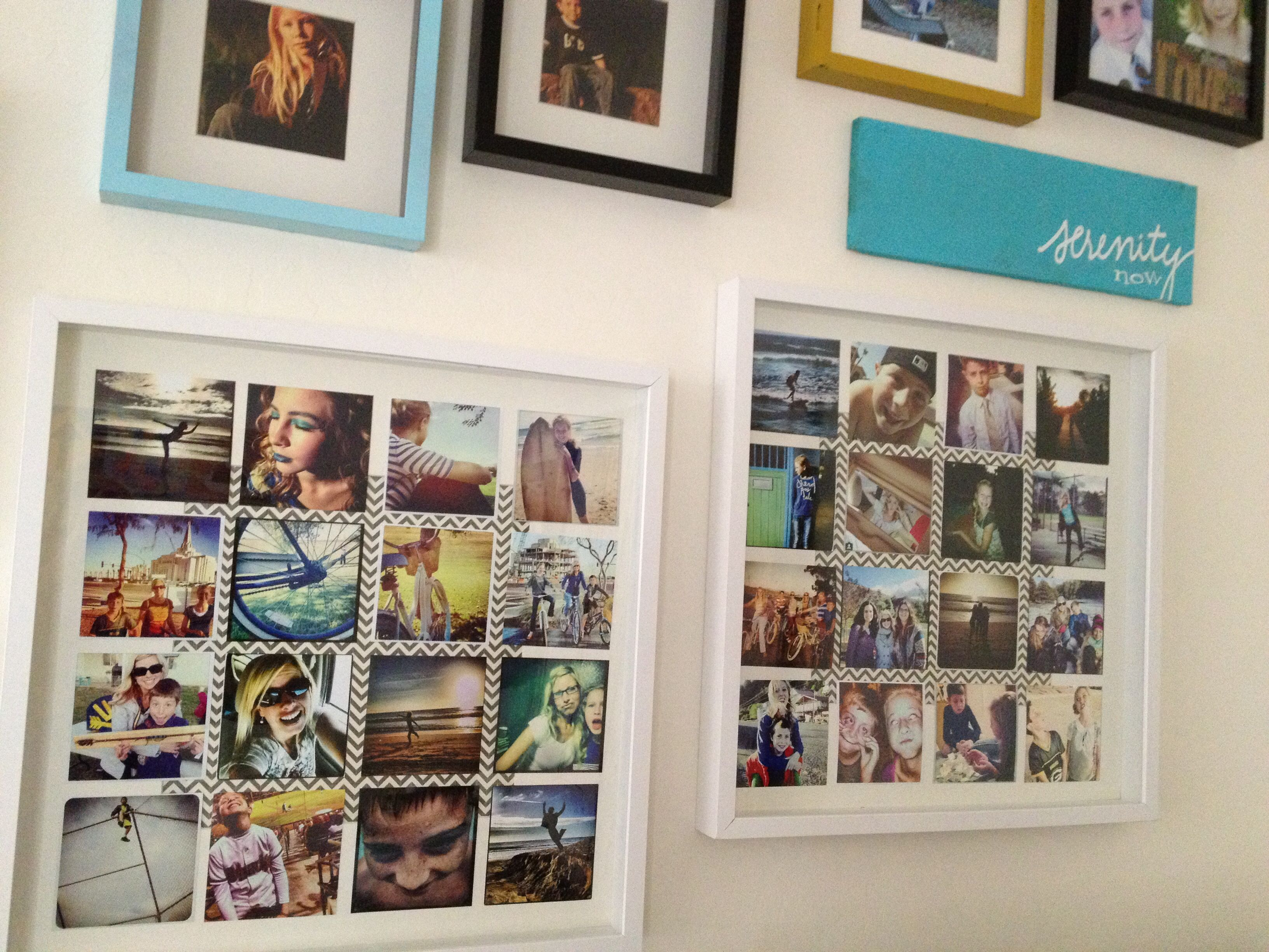 had my favorite instagrams printed at walgreens size 4x4 frames are from ikea