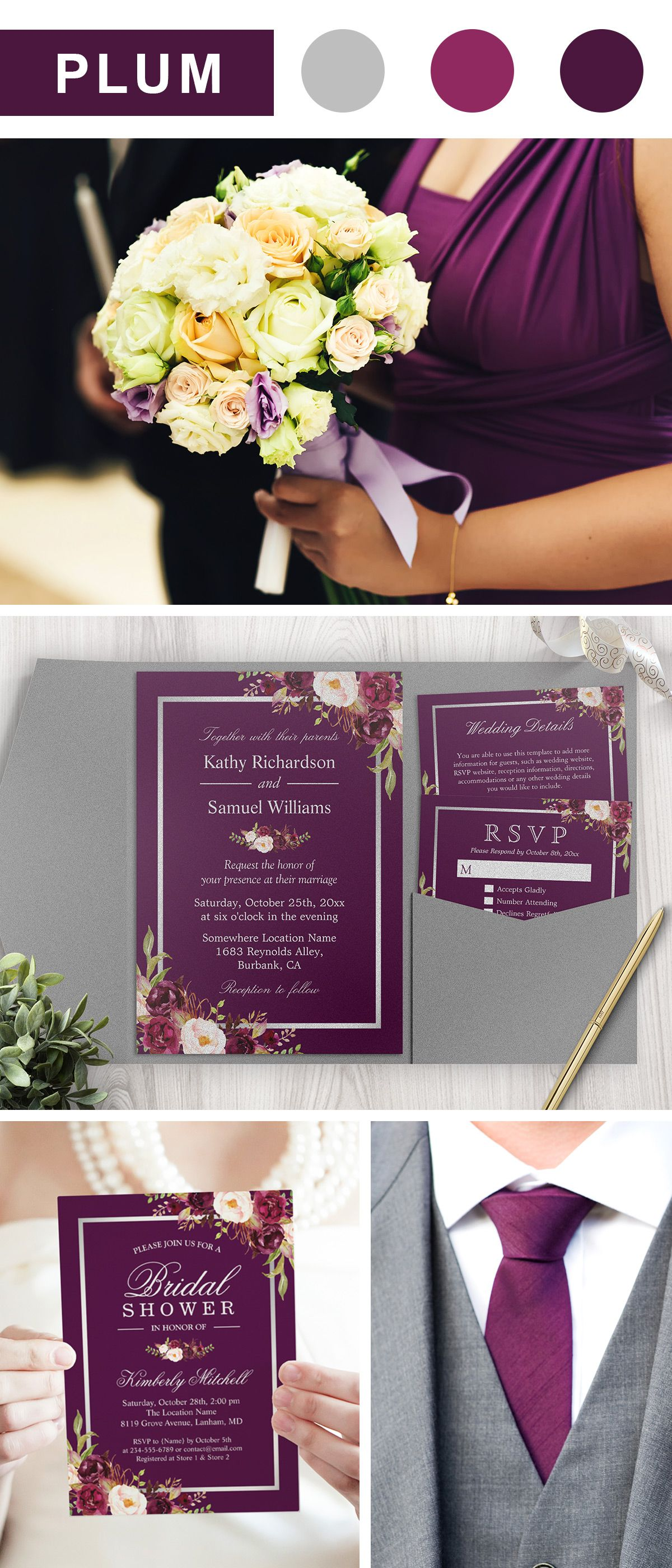 Plum Purple And Silver Gray Wedding Color Ideas Invitation Suite For Fall Winter