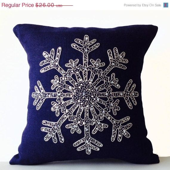Sale Christmas Pillow Snowflake Navy Blue Pillows By Amorebeaute Christmas Pillow Christmas Cushions Burlap Pillows